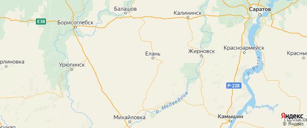 Карта Еланского района Волгоградской области с городами и населенными пунктами