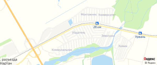 Карта садового некоммерческого товарищества Издателя в Кабардино-Балкарии с улицами и номерами домов