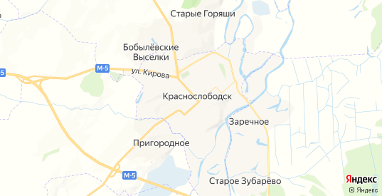Карта Краснослободска с улицами и домами подробная. Показать со спутника номера домов онлайн
