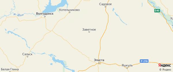Карта Заветинского района Ростовской области с городами и населенными пунктами