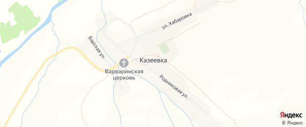 Карта села Казеевки в Пензенской области с улицами и номерами домов