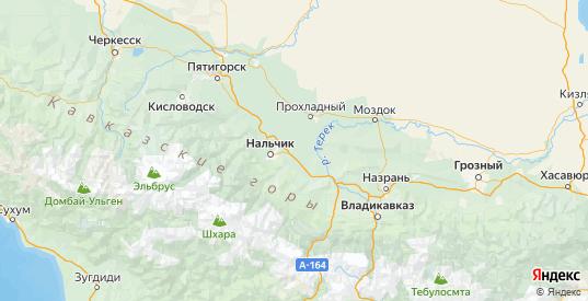 Карта Урванского района республики Кабардино-Балкария с городами и населенными пунктами