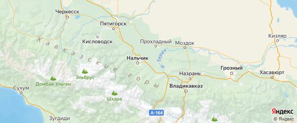 Карта Урванского района Республики Кабардино-Балкарии с городами и населенными пунктами