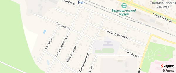 Горная улица на карте Неи с номерами домов