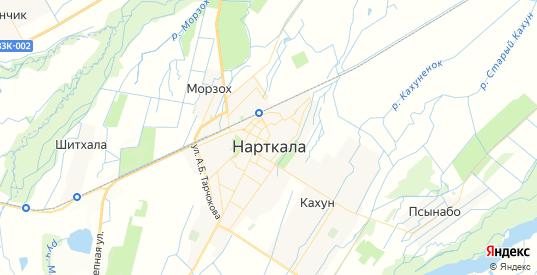 Карта Нарткалы с улицами и домами подробная. Показать со спутника номера домов онлайн