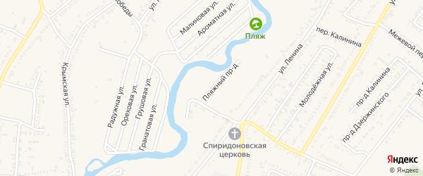Пляжный проезд на карте Зеленокумска с номерами домов
