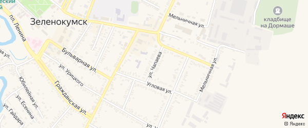 Улица Чапаева на карте Зеленокумска с номерами домов
