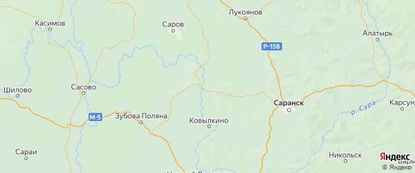 Карта Краснослободского района республики Мордовия с населенными пунктами и городами