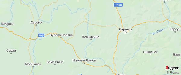 Карта Ковылкинского района Республики Мордовии с городами и населенными пунктами