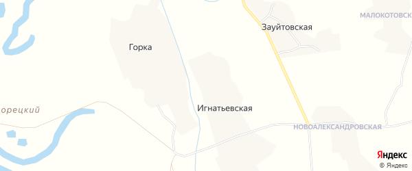 Карта Игнатьевской деревни в Архангельской области с улицами и номерами домов