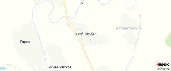 Карта Зауйтовской деревни в Архангельской области с улицами и номерами домов