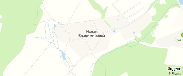 СНТ Оптимист на карте деревни Новой Владимировки Нижегородской области с номерами домов
