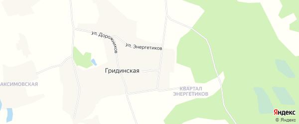 Карта Гридинской деревни в Архангельской области с улицами и номерами домов