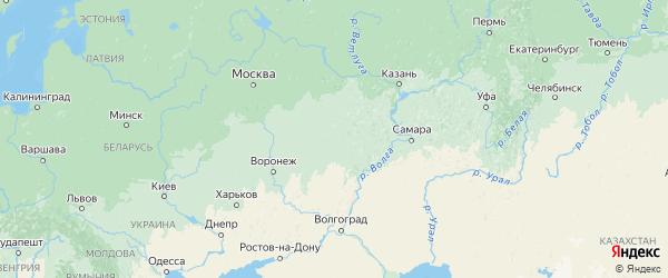 Карта Пензенской области с городами и районами