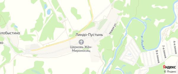 Карта деревни Линдо-Пустынь (Кантауровский с/с) города Бора в Нижегородской области с улицами и номерами домов