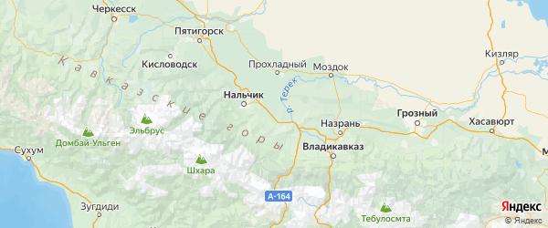 Карта Лескенский района Республики Кабардино-Балкарии с городами и населенными пунктами