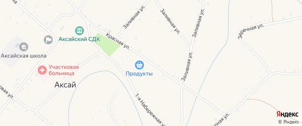 Красная улица на карте села Аксая Волгоградской области с номерами домов