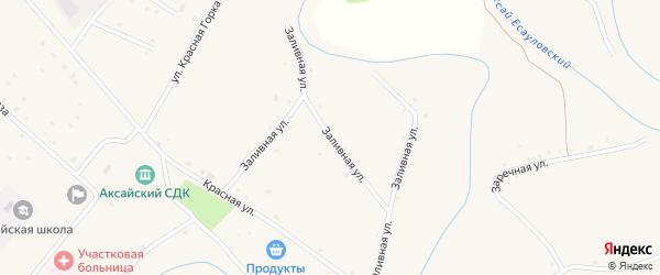 Заливная улица на карте села Аксая Волгоградской области с номерами домов