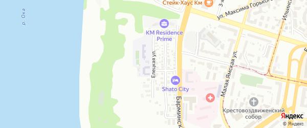 Елецкая улица на карте Нижнего Новгорода с номерами домов