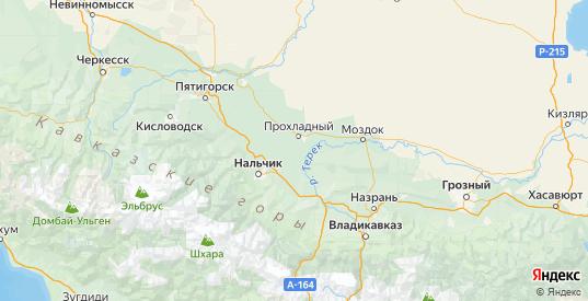 Карта Майского района республики Кабардино-Балкария с городами и населенными пунктами
