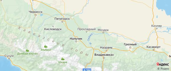 Карта Майского района Республики Кабардино-Балкарии с городами и населенными пунктами
