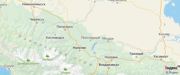Карта Прохладненского района Республики Кабардино-Балкарии с городами и населенными пунктами