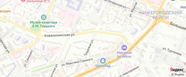 Трудовая улица на карте Нижнего Новгорода с номерами домов