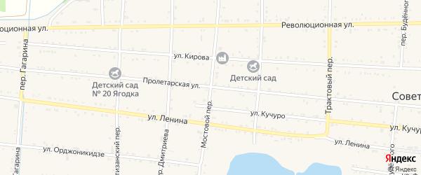 Мостовой переулок на карте Советской станицы Ставропольского края с номерами домов