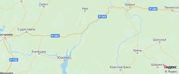 Карта Макарьевского района Костромской области с городами и населенными пунктами