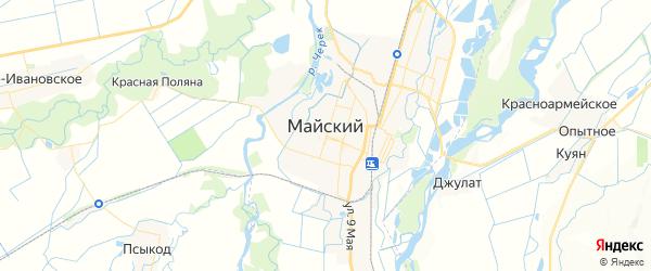 Карта Майского с районами, улицами и номерами домов: Майский на карте России