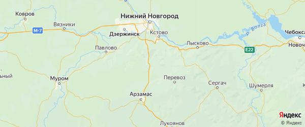 Карта Дальнеконстантиновского района Нижегородской области с городами и населенными пунктами