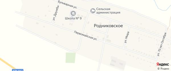 Первомайская улица на карте Родниковского села Ставропольского края с номерами домов