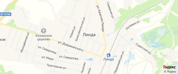 Карта села Линда (Линдовский с/с) города Бора в Нижегородской области с улицами и номерами домов