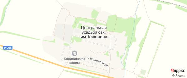 Карта населенного пункта Центральной усадьбы совхоза им. Калинина в Пензенской области с улицами и номерами домов