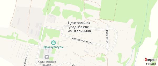 Полевая улица на карте населенного пункта Центральной усадьбы совхоза им. Калинина Пензенской области с номерами домов