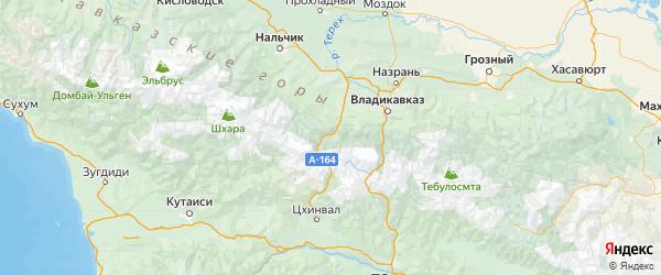 Карта Алагирского района Республики Северной Осетии с городами и населенными пунктами