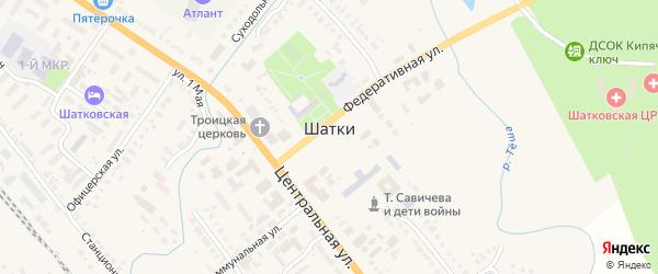 9 Мая улица на карте поселка Шатки Нижегородской области с номерами домов