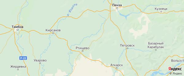 Карта Сердобского района Пензенской области с городами и населенными пунктами
