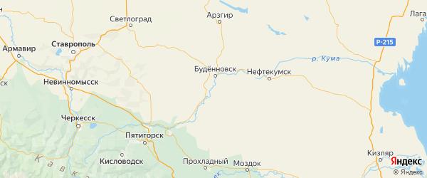 Карта Буденновского района Ставропольского края с городами и населенными пунктами