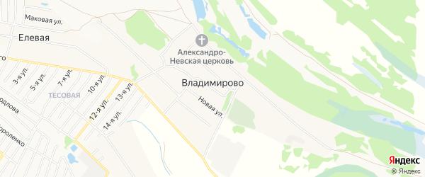 Карта деревни Владимирово (Редькинский с/с) города Бора в Нижегородской области с улицами и номерами домов