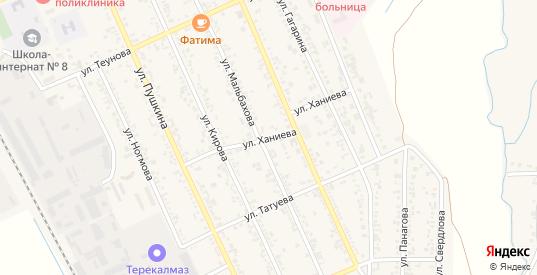 Переулок Ханиева в Тереке с номерами домов на карте. Спутник и схема онлайн
