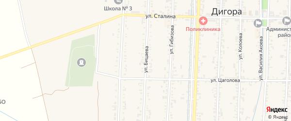 Улица Бицаева на карте Дигоры с номерами домов