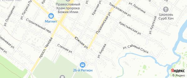 Молодежный переулок на карте Буденновска с номерами домов