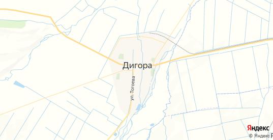 Карта Дигоры с улицами и домами подробная. Показать со спутника номера домов онлайн
