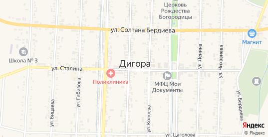 Западная улица в Дигоре с номерами домов на карте. Спутник и схема онлайн