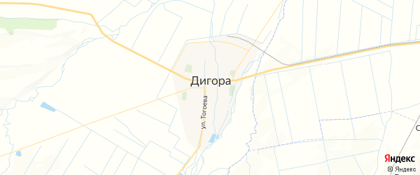 Карта Дигоры с районами, улицами и номерами домов