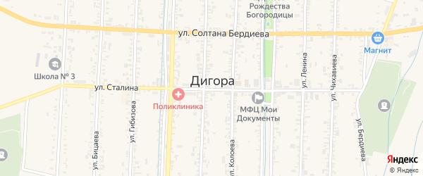 Улица Батышева на карте Дигоры с номерами домов