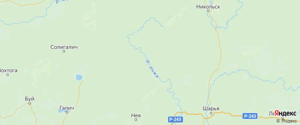 Карта Кологривского района Костромской области с городами и населенными пунктами