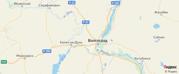 Карта Городищенского района Волгоградской области с городами и населенными пунктами