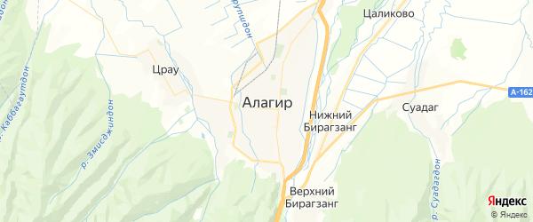 Карта Алагира с районами, улицами и номерами домов